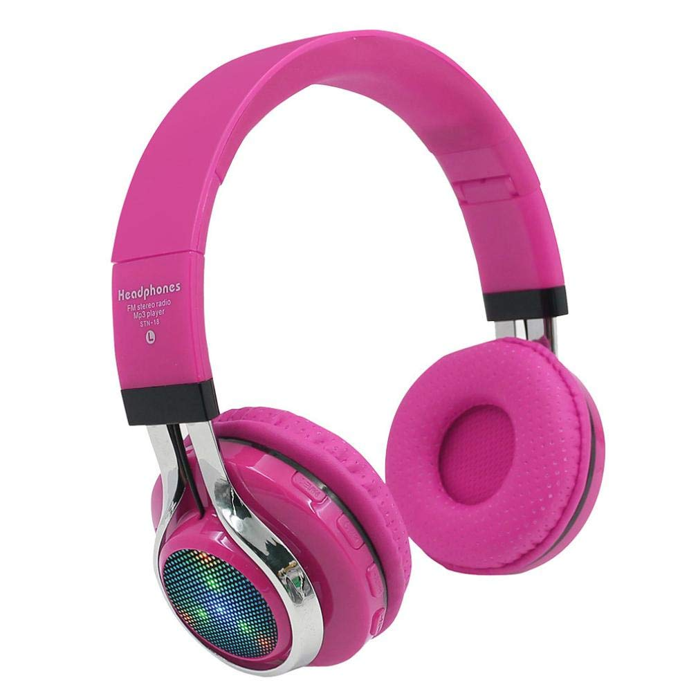 Sonmer STN-18 Wireless Bluetooth 4.1 Noise Cancelling Stereo Foldable Over Ear Headphone,for Iphone Android Smartphone Tablet PC,With Microphone FM Function (Pink)