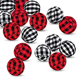 Christmas Farmhouse Home Decor 12 Pieces Buffalo Check Fabric Wrapped Balls Valentine's Day Gingham Bowl Fillers for Valentine's Day Party Farmhouse…