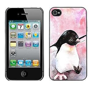 Pingüino lindo de la acuarela de los rosas bebés - Metal de aluminio y de plástico duro Caja del teléfono - Negro - iPhone 4 / 4S