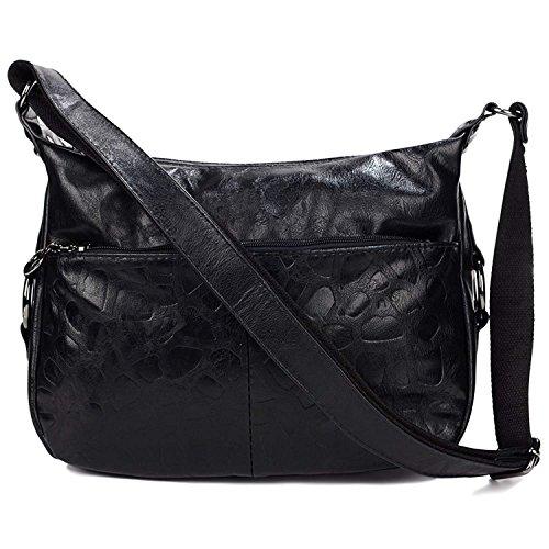 Fashion Leather Crossbody Bag Hobo Handbags Shoulder Bag for Women (Black) by Vintga
