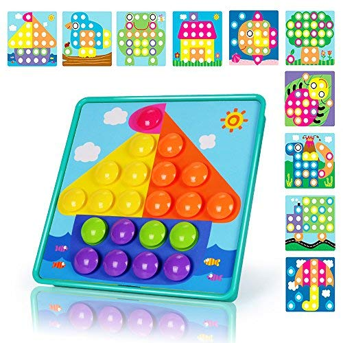 NextX Button Art Preschool Learning Toys Color Matching Puzzle Games Best Gift for Boy (Blue)]()
