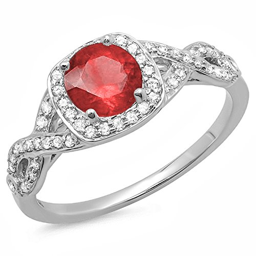 14K White Gold Ruby & White Diamond Swirl Split Shank Halo Engagement Ring (Size (14k Gold Diamond Swirl Ring)