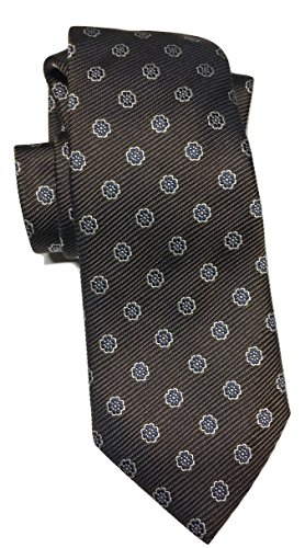 Ermenegildo Zegna Brown Geometric Flowers Pattern Print Silk Tie
