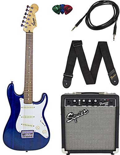 Squier by Fender Short Scale Stratocaster Pack with Frontman 10G Amp, Cable, Strap, and Picks – Blue (Renewed)