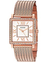 GUESS Womens U0826L3 Dressy Rose Gold-Tone Watch with White Dial , Crystal-Accented Bezel and Mesh G-Link Band