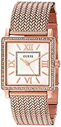 Guess Women's U0826l3 Dressy Rose Gold-tone Watch With White Dial , Crystal-accented Bezel & Mesh G-link Band