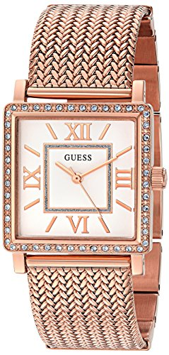 GUESS Women's U0826L3 Dressy Rose Gold-Tone Watch with White Dial , Crystal-Accented Bezel and Mesh G-Link Band
