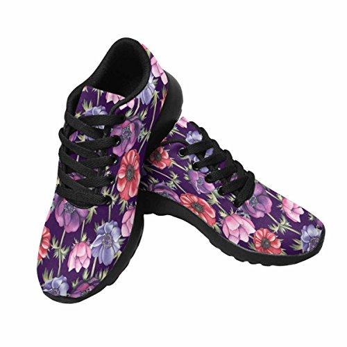 Interestprint Mujeres Footing Running Sneaker Ligero Go Easy Walking Comfort Deportes Zapatos Deportivos Patrón De Acuarela Con Anémonas