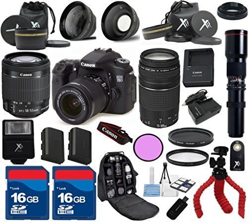 Canon 70D Camera Body with Canon 18-55mm IS STM Lens + 75-300mm III Zoom + 500mm Preset Lens +24pc Accessory kit - International Version