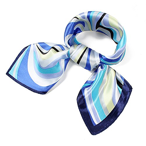 QBSM Womens Blue Satin Silky Party Formal Dress Square Neck Scarf Neckerchief