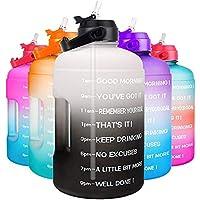 1 Gallon Waterfles - met stro & motiverende tijd Marker Lekvrij BPA Gratis Herbruikbare Gym Sport Outdoor Large (122oz…