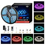 Led Strip Lights Waterproof 16.4ft 5m Waterproof Flexible Color Changing RGB SMD 5050 150leds LED Strip Lighting Kit with 44 Keys IR Remote Controller and 12V Power Supply