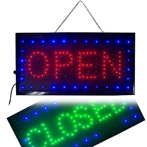 Pub One Light - Ovovo Ultra Bright LED 2 in 1 Open Closed Sign, Business Signs for Drink Food Restaurant Diner Cafe Bar Pub Coffee Shop Store Wall Window Display Fixture
