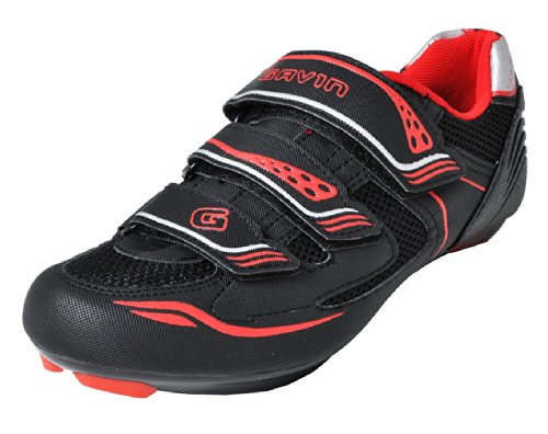 Black Mens Bike Shoes - Gavin Men's VELO Road Bike Cycling Shoe, Black/Red, 42 EU