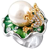 Claire Jin Lotus Leaf Frog Ring 16MM Simulated Pearl Jewelry Rhinestone Statement Rings for Women