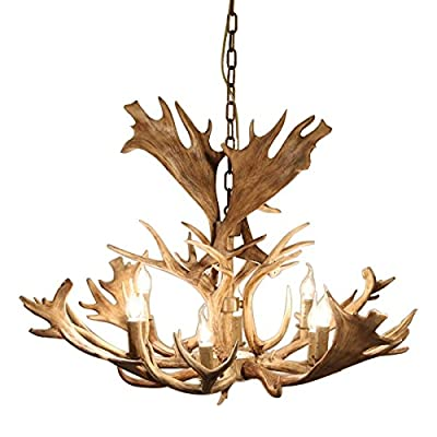 "Retro Faux Antler 43"" Wide Rustic Cascade Antler Chandelier 8 Candle Pendant Light Fixture - Rustic Design: Resin antlers with refined craftsmanship arrange in 2 tiers creating this rustic addition for your home. Ample Lighting: Uses 8 candelabra lights (not included) to cast a warm, ample glow and bring the design to life. Dimensions: diameter: 43.3""/1100mm; body height: 25.6""/650mm; chain length: 39.4""/1000mm (adjustable, contact us if you need longer). - kitchen-dining-room-decor, kitchen-dining-room, chandeliers-lighting - 51awJdz%2BGyL. SS400  -"