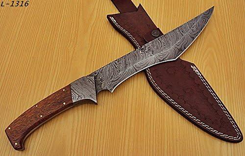 REG L-1316 Handmade Damascus Steel Knife – Stunning Edge Blade with Exotic Wood Handle