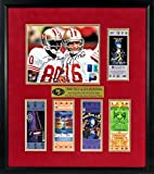 49ers super bowl tickets - SF 49ers Joe Montana & Jerry Rice Autographed Five Super Bowl Championships Display with Replica Tickets Framed (COA)