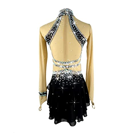 Amazon.com : LINGXU Ice Skating Dress for Women Girls, Handmade Figure Skating Competition Costume with Crystals Long Sleeved Roller Skate Dress Jerseys, ...