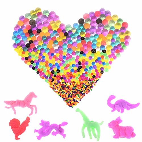 IYSHOUGONG 48 Bags Water Growing Balls Gel Beads with 48 Water Growing Creatures Animals Crystal Beads Balls,Zodiac and Dinosaur Animals (Zodiac Ball Animal)