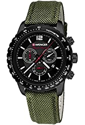 Wenger Men's 'Roadster' Swiss Quartz Stainless Steel and Nylon Automatic Watch, Color:Green (Model: 01.0853.110)