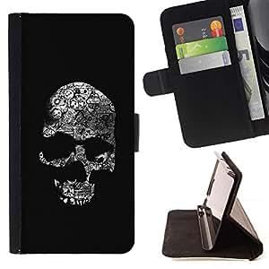Momo Phone Case / Flip Funda de Cuero Case Cover - Cráneo Huesos Negro Blanco Death Metal - Sony Xperia Z5 5.2 Inch (Not for Z5 Premium 5.5 Inch)