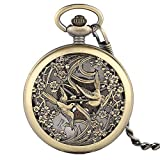 Vintage Pocket Watch, Bronze Magpies Classic Automatic Mechanical Pocket Watch, Self-Hand Winding Gift for Men