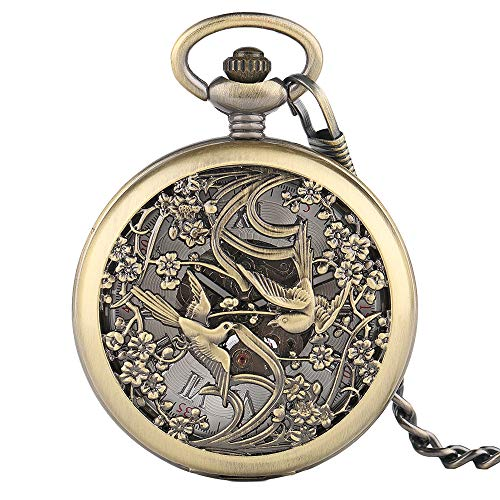 Chinese Magpies Pocket Watch, Hollow Birds Automatic Mechanical Pocket Watches, Wedding Gifts for Men Women by mygardens