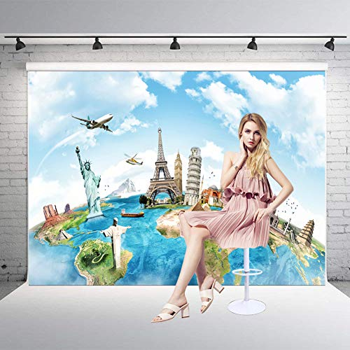 (Worldwide Travel Backdrop 5X7ft Famous Scenic Spot On Earth Pyramid Statue of Liberty Pisa and Eiffel Towel Studio Photography Background Backdrop)