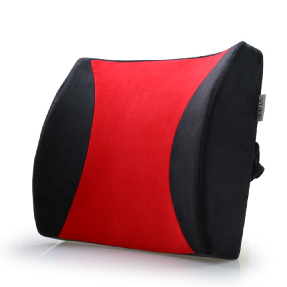 XJ&DD Back Waist Support,Lumbar Pillow,Comfortable 100% Memory Foam for Home Computer Games Car Office Travel Student.Plush-F 33x31cm(13x12inch)