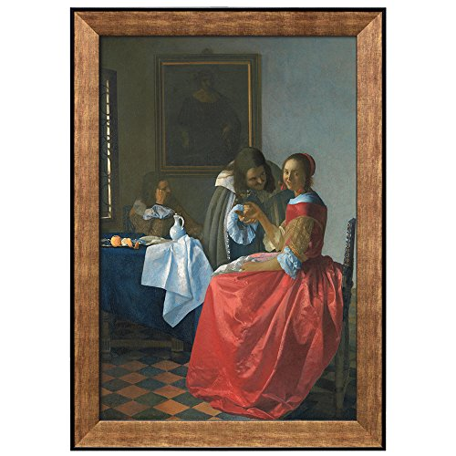 The Girl with the Wine Glass by Johannes Vermeer Framed Art