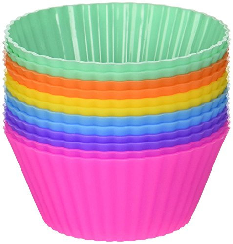 Hulless Reusable Silicone Baking Cups - Set of 12 Nonstick Cupcake Liners in 6 Vibrant Colors by Hulless (Image #1)
