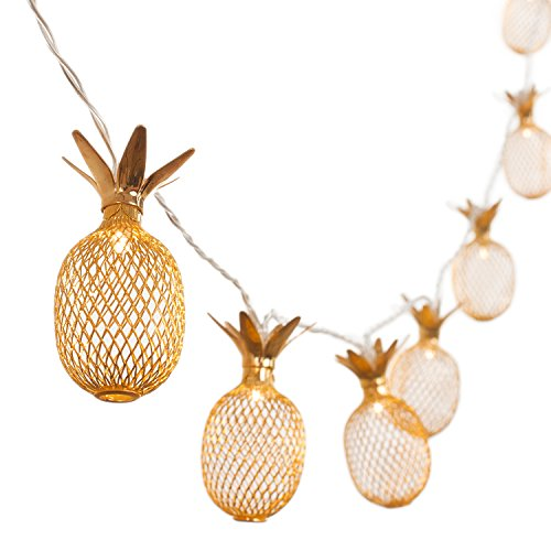 Ling's moment 10-Light 5Ft Gold Metal Mesh Pineapple