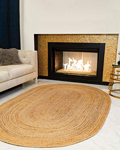 (Natural Area Oval Rugs 100% Natural Fiber Handmade Reversible Elsinore Jute 6' x 9' Oval Rug Beige)