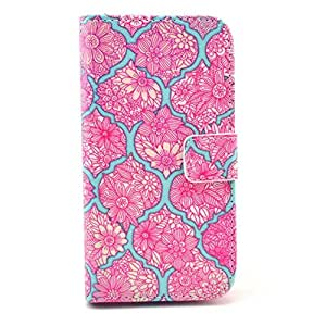LUOLNH (TM) - Samsung Galaxy S5 MINI Protective Case, Magnetic Flip Stand Card Holder Wallet PU Leather Case Pouch Cover (Pink Plaid Flowers)(Not for S5)