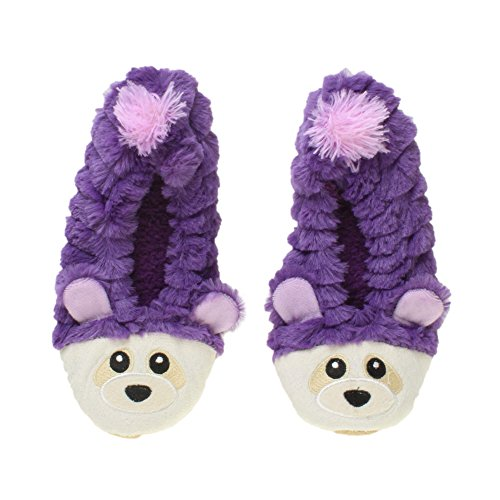 Womens Ladies Elastic Fleece Lined Cosy Fur Bear Raccoon Animal face Grip Slippers Socks Size Purple
