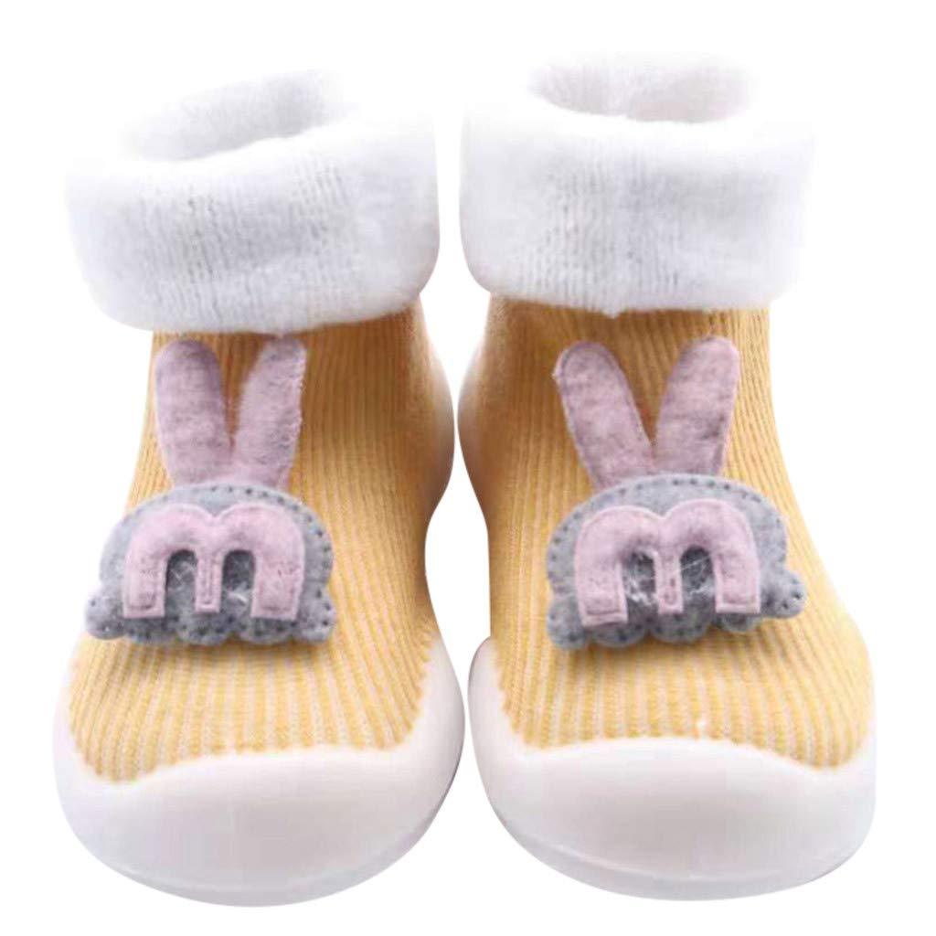 NUWFOR Newborn Baby Boys Girls Cartoon Rabbit Floor Socks Anti-Slip Baby Step Socks(Yellow,2-3Years)