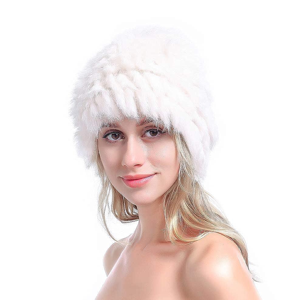 397e3b11402 Metrekey Womens Winter Snow Hats Real Rabbit Fur Cap Cold Weather Ladies  Beanies Beige at Amazon Women s Clothing store