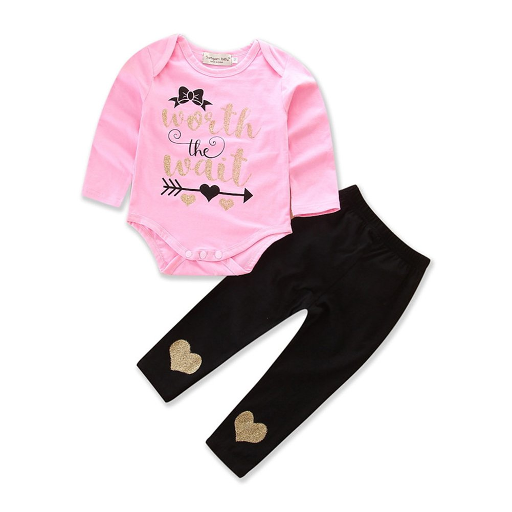 Zekky Worth Wait Pink Long Sleeve Bodysuit Legging Pants 2 Pcs for Newborn Baby Girl