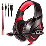 ONIKUMA Gaming Headset with Mic for New Xbox One, PS4, Nintendo Switch - Noise Isolating, Deep Bass - 3.5mm Surround Stereo USB LED Gaming Headphones for Iphone, Ipad, PC, Laptop (Red)