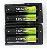 4 Pcs 5800mAh 18650 Li-ion 3.7V Rechargeable Battery & 2 Pcs Dual Smart Charger USA