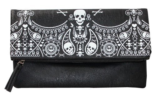 loungefly-rockabilly-bandana-skull-embossed-black-and-white-fold-over-clutch