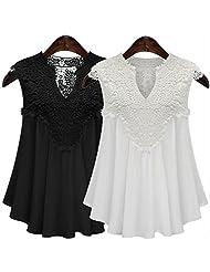 Vale® Plus Size Women Sexy Lace Blouses V-neck Shirts Chiffon Sleeveless Top White