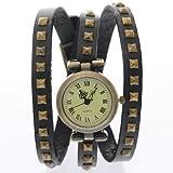 CLW Brand Retro Bronze Vintage Cow Leather Strap Rusty Copper Studs Belt Bracelet Wrap Band Antique Watches Ancient Women Wristwatch Ladies Dress Quartz Watch