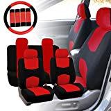 FH GROUP FH-FB050114 Full Set Flat Cloth Car Seat Covers w. FH2033 Steering Wheel Cover and Seat Belt Pads, Red / Black Color- Fit Most Car, Truck, Suv, or Van