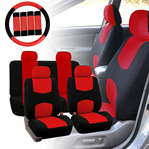 FH GROUP FH-FB050114 Full Set Flat Cloth Car Seat Covers w. FH2033 Steering Wheel Cover and Seat Belt Pads, Red / Black Color- Fit Most Car, Truck, Suv, or (Honda Civic Seat Belt)