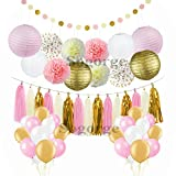 68 pcs Pink and Gold Party Decorations,balloon,Pom Poms Flowers,Paper lantern,Paper Garland,Tassels,Hanging Swirl for 1st Birthday Girl Decorations Bridal Shower Baby Shower by Sogorge