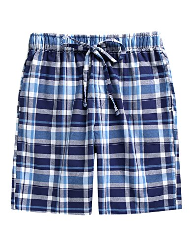 TINFL Boys Soft Cotton Plaid Check Sleep Lounge Shorts BSP-SB010-Blue L
