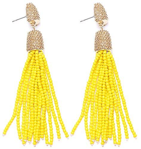 VK Accessories Bead Fringe Dangle Earrings Soriee Drop Earrings Beaded Tassel Ear Drop Yellow (Beaded Drop Earring Set)