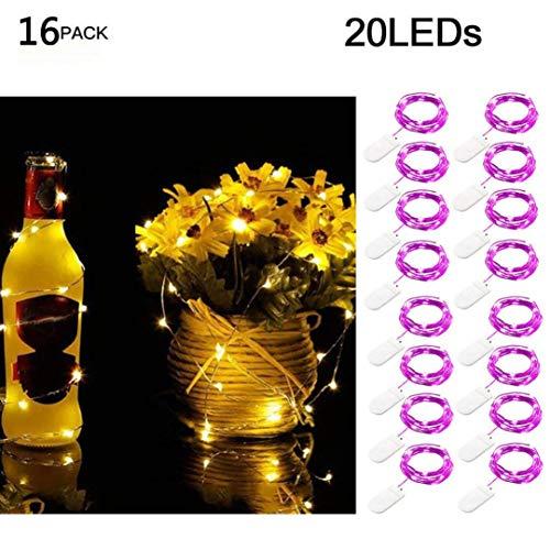 Sagton 16Pcs 2M 20LED Fairy Lights, Purple Starry String Copper Wire Battery Christmas Decor ()